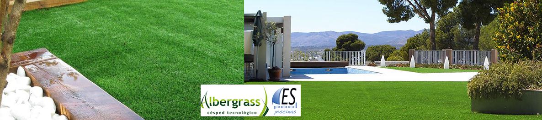 Césped artificial de jardín Albergrass. De venta en Espool Piscinas, Guadalajara.