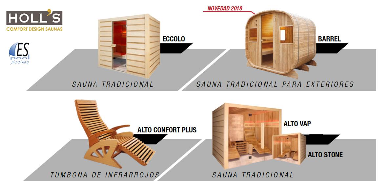 Gama de saunas o cabinas de infrarrojos Holl´s. De venta en Espool Piscinas, Guadalajara.