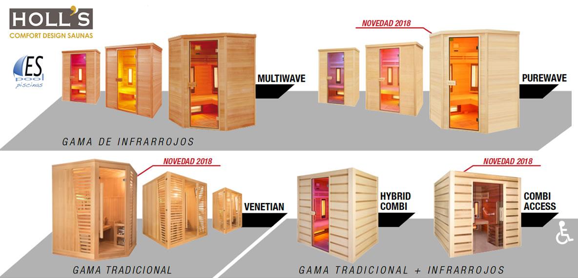 Modelos de saunas o cabinas de infrarrojos Holl´s. De venta en Espool Piscinas, Guadalajara.