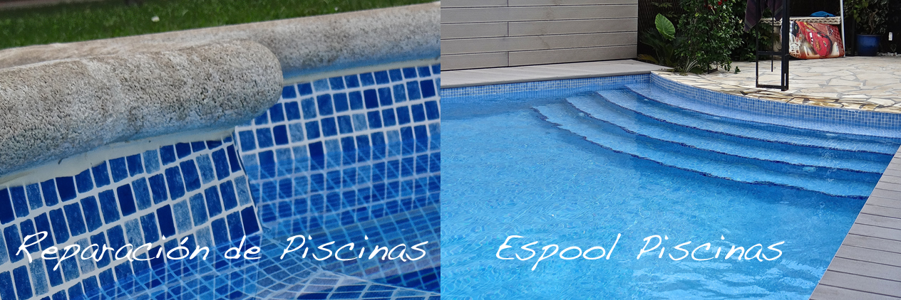 Reparación de piscinas con lámina armada y rejuntado de gresite con epoxi - Espool Piscinas, Guadalajara.