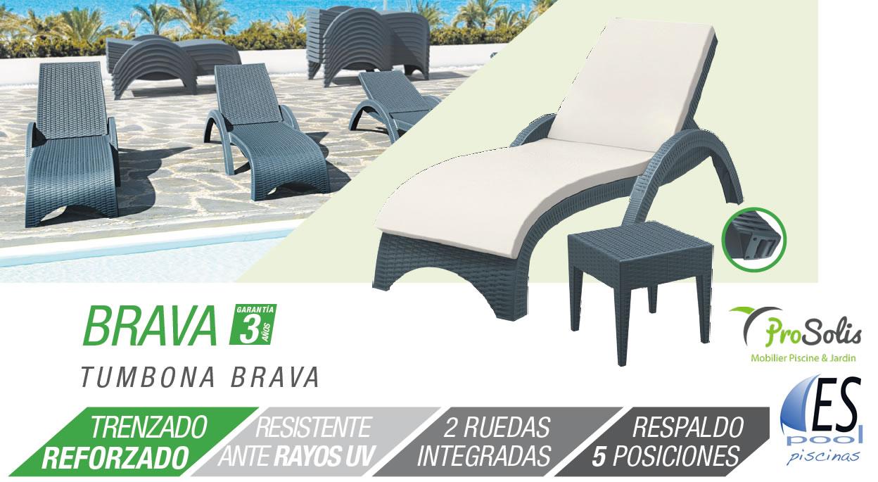 Tumbona Brava de jardín y piscina marca Prosolis. De venta en Espool Piscinas, Guadalajara.