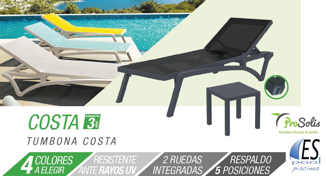 Tumbona Costa de piscina y jardin marca Prosolis. De venta en Espool Piscinas, Guadalajara