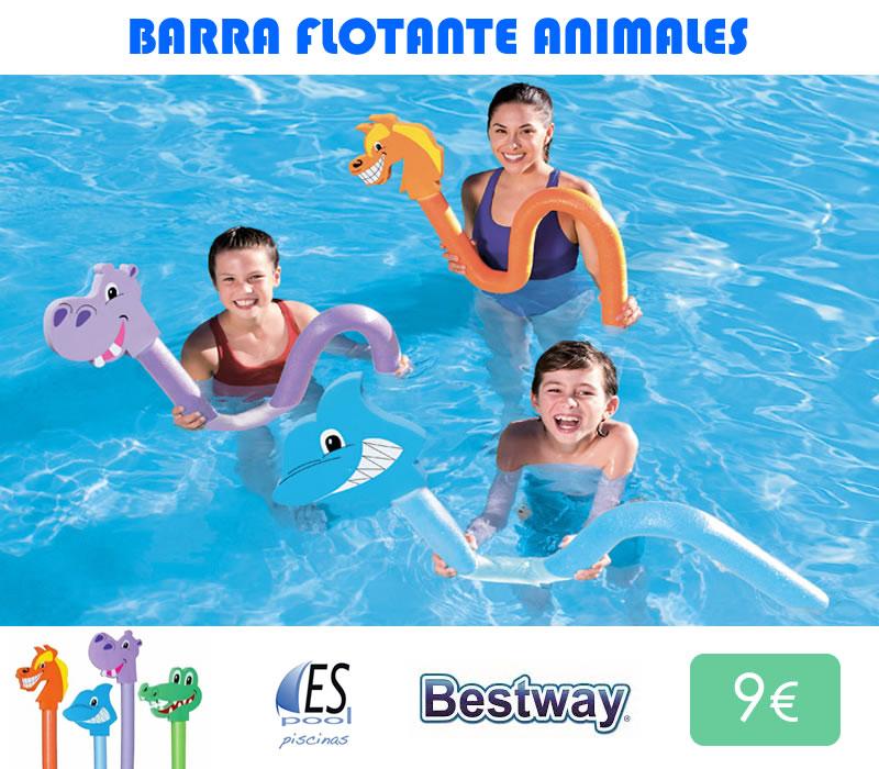 Barra flotante con cabeza de animales para la piscina, marca Bestway. Ideal para aprender a nadar. De venta en Espool Piscinas.