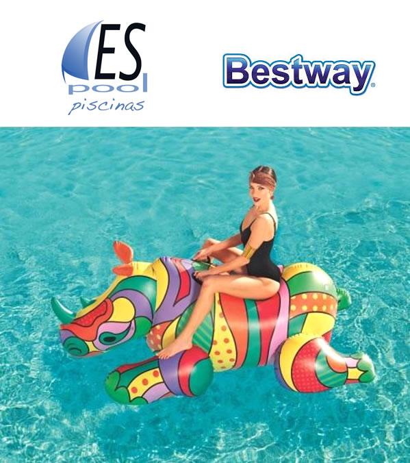 Flotador hinchable Rinoceronte con asas adultos diseño pop art 201 x 102 cm Bestway EspoolPiscinas
