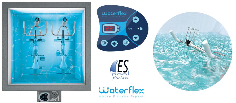 Aquabike, filtración, calefacción y chorros de Fit´s Pool de Waterflex. De venta en Espool Piscinas, Guadalajara.