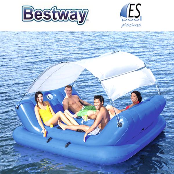 Colchoneta tumbona hinchable azul para 4 personas, marca Bestway. De venta en Espool Piscinas, Guadalajara.