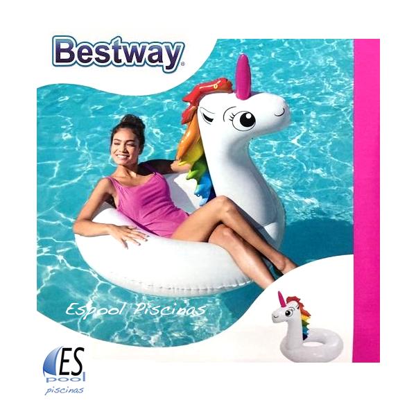 Flotador hinchable piscina unicornio, marca Bestway. De venta en Espool Piscinas, Guadalajara.