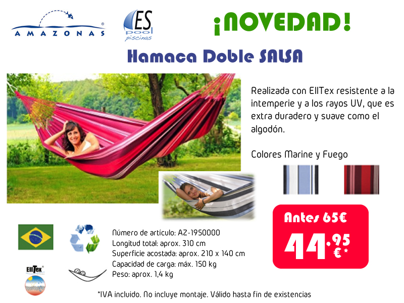 Hamacas Amazonas para jardín. De venta en Espool Piscinas, Guadalajara.
