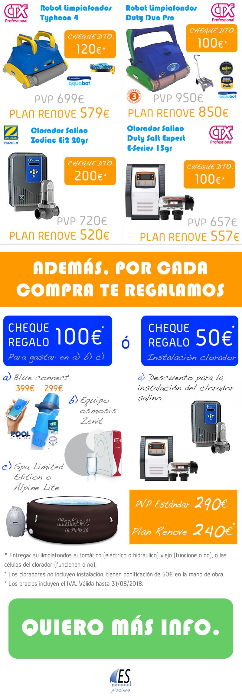 Ofertas de robots limpiafondos y cloradores salinos en Espool Piscinas, Guadalajara